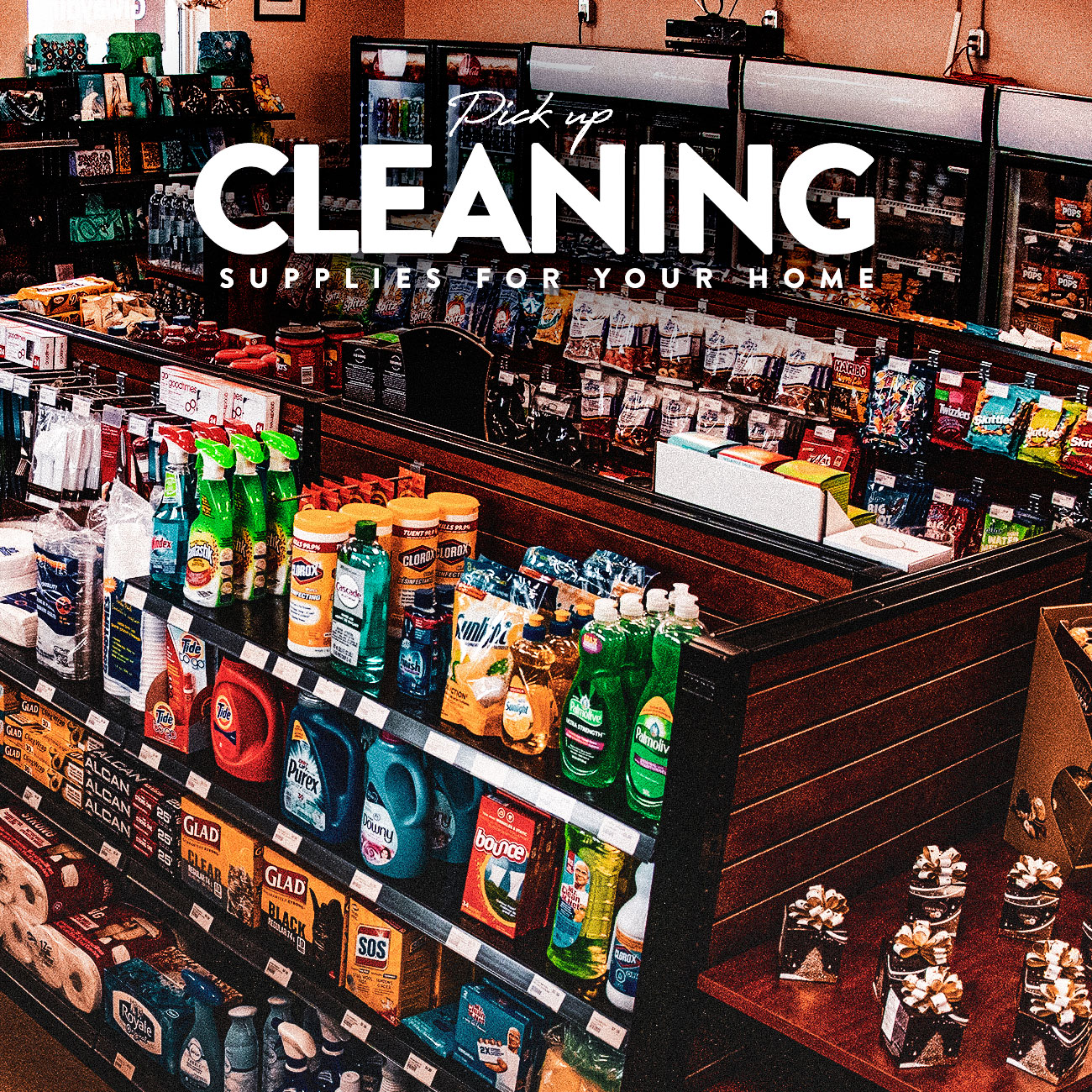Pick up cleaning supplies for your home